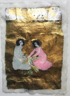 Two Women Plucking a Bird, Watercolor with Gold Leaf, 1971