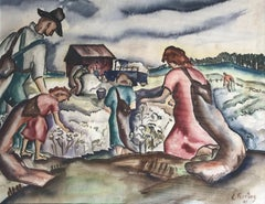 Kelly Fearing Untitled Watercolor, Cotton Pickers on a Plantation, 1940