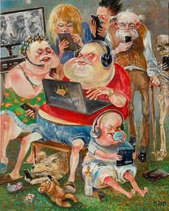 """Manfred Rapp, Caricatures, """"Family Gathering,"""" Prints & Original Available"""