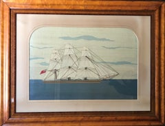 19th Century Woolie Featuring Sailboat with Saint George British Flag