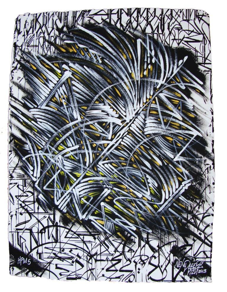 Limited edition hand-painted screen print by graffiti artist Alex Kizu (aka DEFER), on 640g Khadi handmade paper. This is Edition 5 of 8.