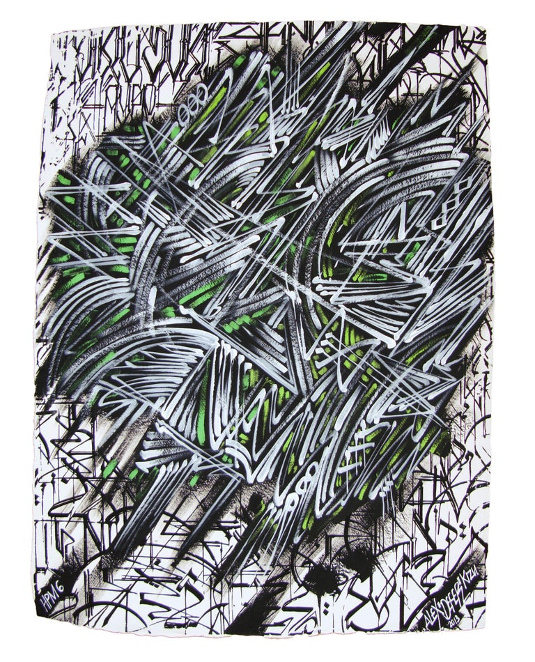 Limited edition hand-painted screen print by graffiti artist Alex Kizu (aka DEFER), on 640g Khadi handmade paper. This is Edition 6 of 8.