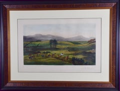 Hand Colored Lithograph of an Irish Hunting Scene
