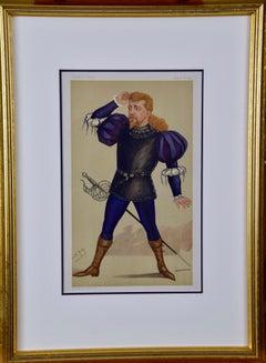 "Hand Colored 19th c. Vanity Fair Caricature of an Opera Singer, ""Polish Tenor"""