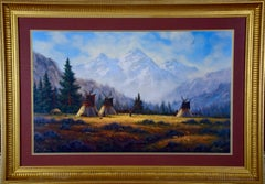 Native American Encampment in a Valley, Limited Edition Signed Print