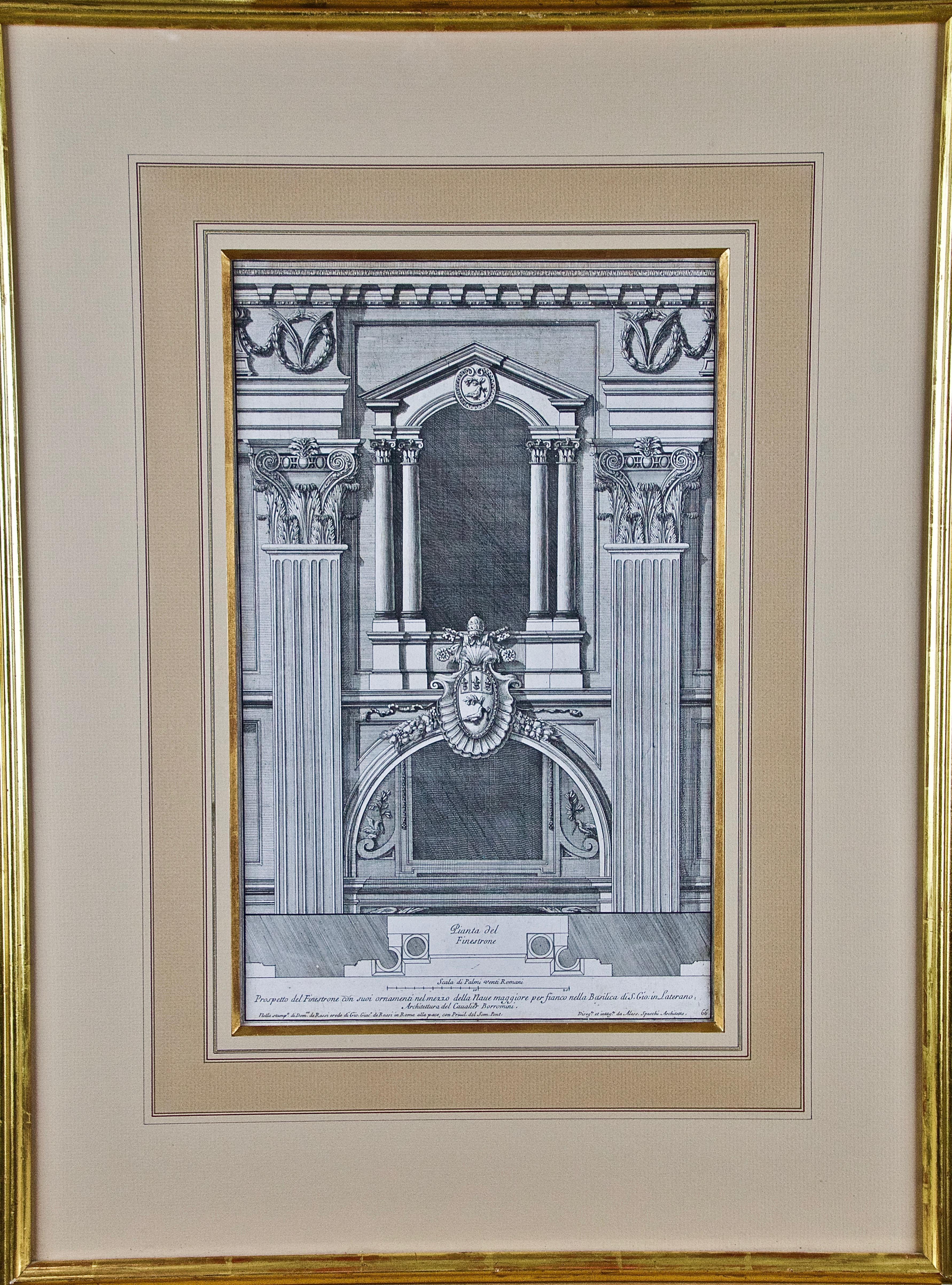 18th C. Italian Architectural Engraving of a Borromini Designed Church in Rome