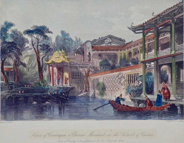 Architectural Engraving of the House of Conseequa, Canton, China by Thomas Allom For Sale 1