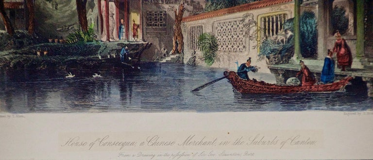 Architectural Engraving of the House of Conseequa, Canton, China by Thomas Allom For Sale 2