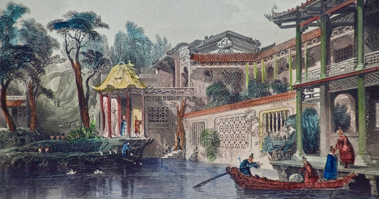 Architectural Engraving of the House of Conseequa, Canton, China by Thomas Allom For Sale 3