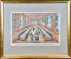 Hand Colored Vue d'optique of the Hotel des Invalides Dining Room in Paris