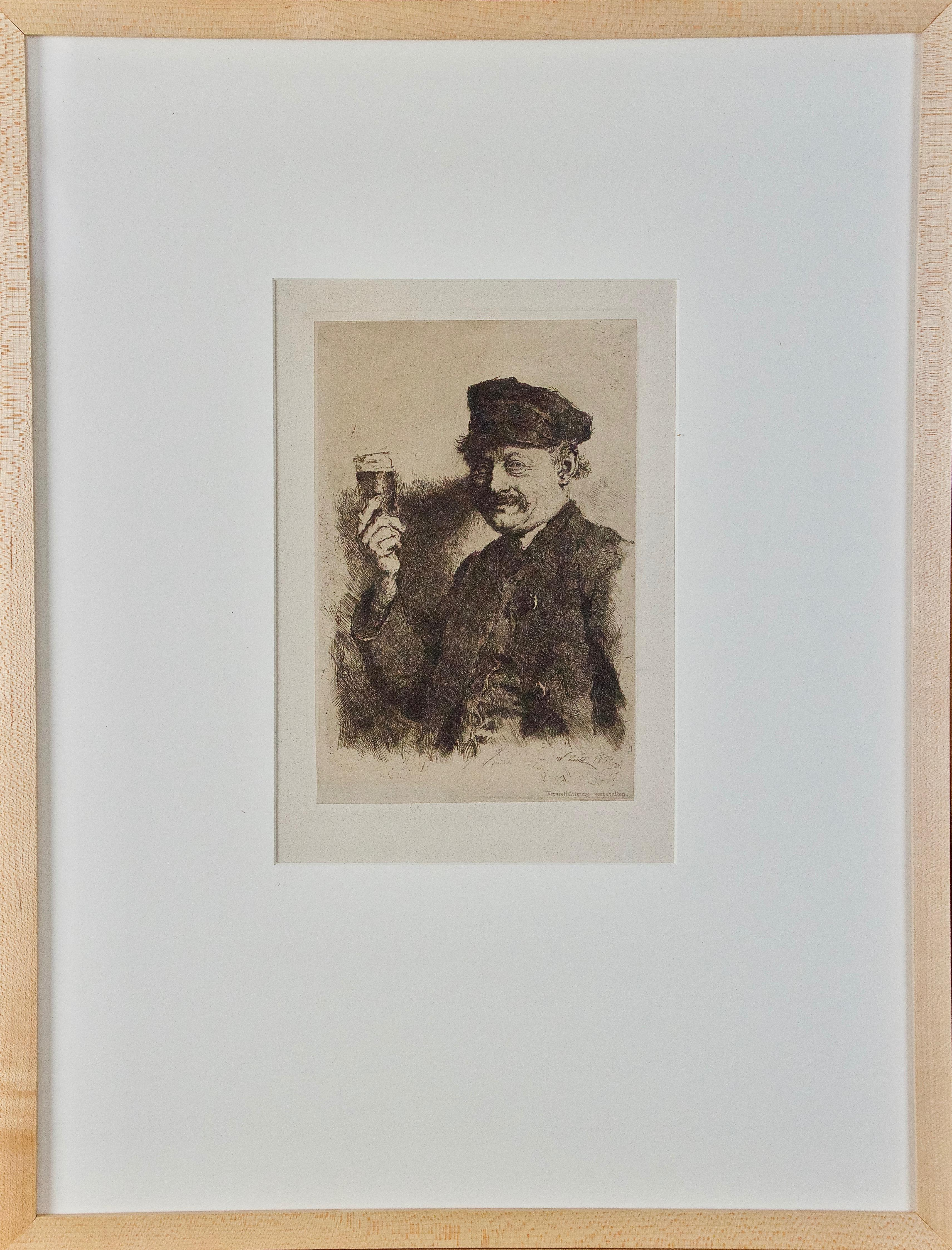 19th Century Etching Der Trinker (The Drinker, Portrait of a Brewer) by Leibl
