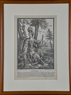 """L' Amerique"" an Early 18th Century Allegorical Engraving of America by Bonnart"