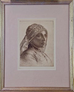 A Portrait of a Pensive Woman in a Head Scarf: An Etching by George Rhead
