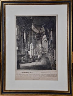 """""""Die Altneuschule in Prag"""" An Engraving of the Interior of a Synagogue in Prague"""
