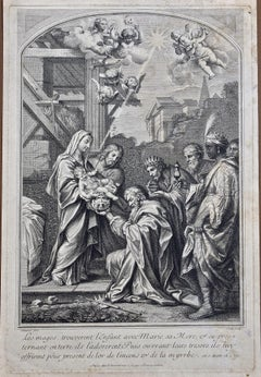 An 18th C. Religious Engraving of the Gift of the Magi by Vale, After Calmarat