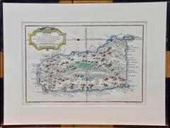 """Jacques Bellin Map of the Island of St. Lucia """"Carte de L'isle de Sainte Lucie"""""""