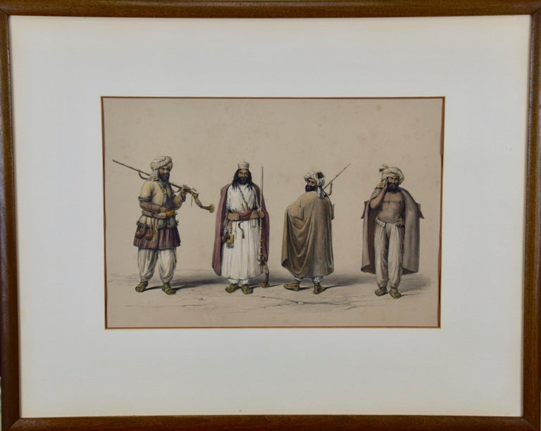 A Pair of 19th c. Engravings Depicting the Costumes and Weapons of Afghani Men - Print by Dr. James Atkinson