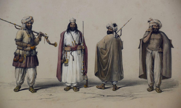 A Pair of 19th c. Engravings Depicting the Costumes and Weapons of Afghani Men - Realist Print by Dr. James Atkinson