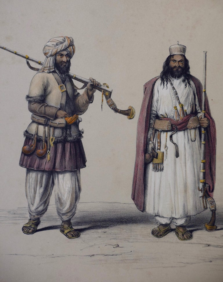 A Pair of 19th c. Engravings Depicting the Costumes and Weapons of Afghani Men - Gray Portrait Print by Dr. James Atkinson