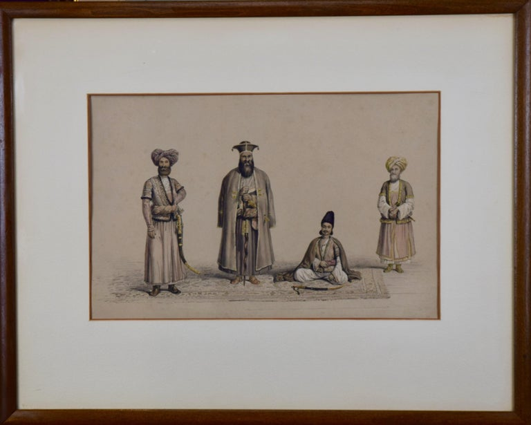 A Pair of 19th c. Engravings Depicting the Costumes and Weapons of Afghani Men For Sale 2