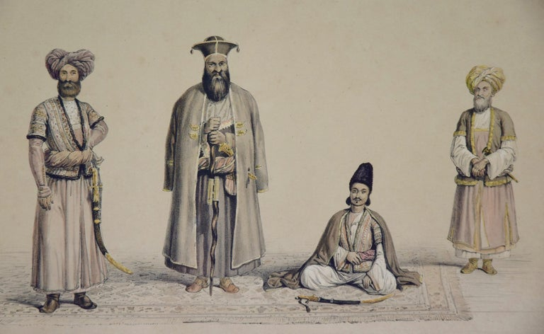 A Pair of 19th c. Engravings Depicting the Costumes and Weapons of Afghani Men For Sale 3