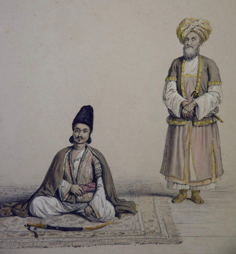 A Pair of 19th c. Engravings Depicting the Costumes and Weapons of Afghani Men For Sale 4