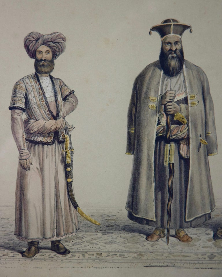 A Pair of 19th c. Engravings Depicting the Costumes and Weapons of Afghani Men For Sale 5