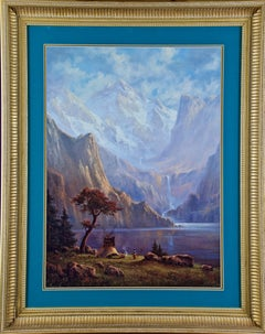 Native American Encampment by a Lake and Waterfall, Limited Edition Signed Print