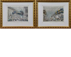 Pair of Colored Engravings of the Crystal Palace; London's 1851 Great Exposition