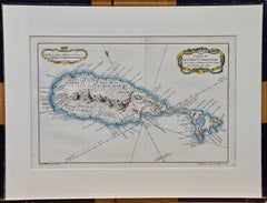 "Jacques Bellin Hand Colored Map ""Carte de de L'isle St. Christophe"" (St. Kitts)"