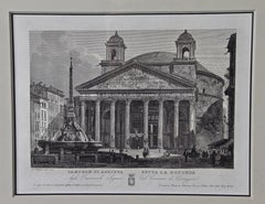 A 19th Century Etching of the Pantheon in Rome