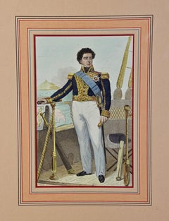 Antique Hand Colored Steel Engraving of the Commodore of the Navy under Napoleon