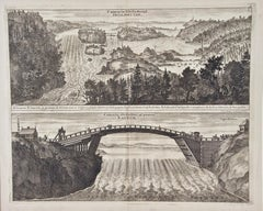 An Antique Engraved View of Waterfalls in Sweden in the 17th C. by Erik Dahlberg