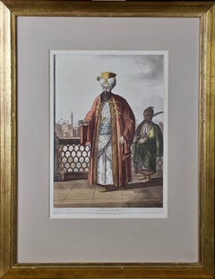 A Hand Colored Engraving of an 18th-19th Century Egyptian Ruler by Luigi Mayer