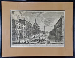 18th Century Etching of the Ancient Piazza Navona in Rome by Barbault