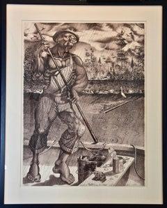 """Neptune Washington"", Fisherman Polling His River Boat in the Rain by Ron Adams"