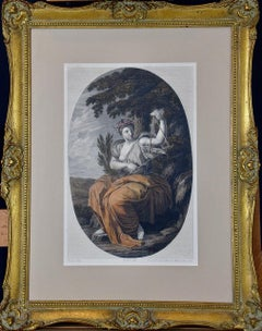 A Hand-colored 1803 Engraving of a Muse after a 17th C. le Sueur Painting