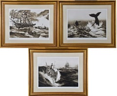 A Set of Three Copperplate Etchings of Whaling Scenes by Jack Coughlin