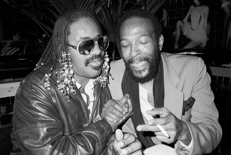 Richard Young Black and White Photograph - Stevie Wonder and Marvin Gaye, Stringfellows, London, 1981, Photography