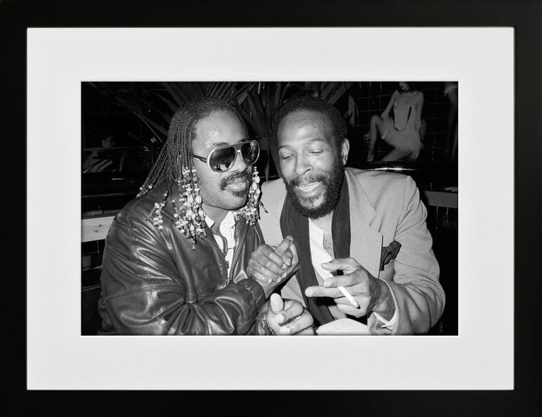 Stevie Wonder and Marvin Gaye, Stringfellows, London, 1981, Photography - Black Black and White Photograph by Richard Young