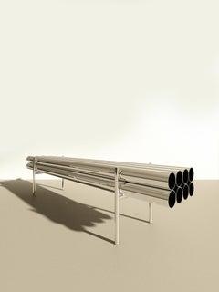 Long Bench, Polished Aluminum, Mirror Finish, Sleek Edgy Bench