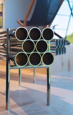 Short Bench, Polished Aluminum, Mirror Finish, Sleek Edgy Boudoir  Chair