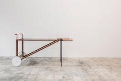 Wheel Barrow Buffet, Pastel and Wood Rolling Bar Cart
