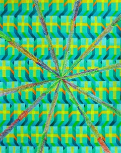 Life Circuit, Colored Pencil drawing, Op-art, Abstract Geometric