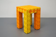 Checkered Stool, Colorful Outdoor Stool Teak Wood and Colorblock Woven Mesh