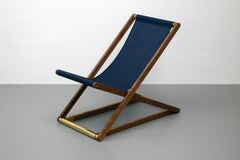 Folding Beach Chair, Wood and Brass Outdoor chair