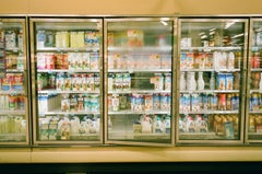 Color photograph of Supermarket interior, Fogged glass doors and colors