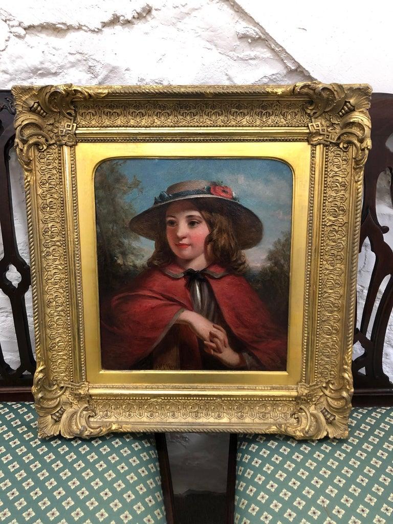 Little Red Riding Hood - Literary Portrait Oil Painting by J.H.S.Mann - Brown Portrait Painting by Joshua Hargrave Sams Mann