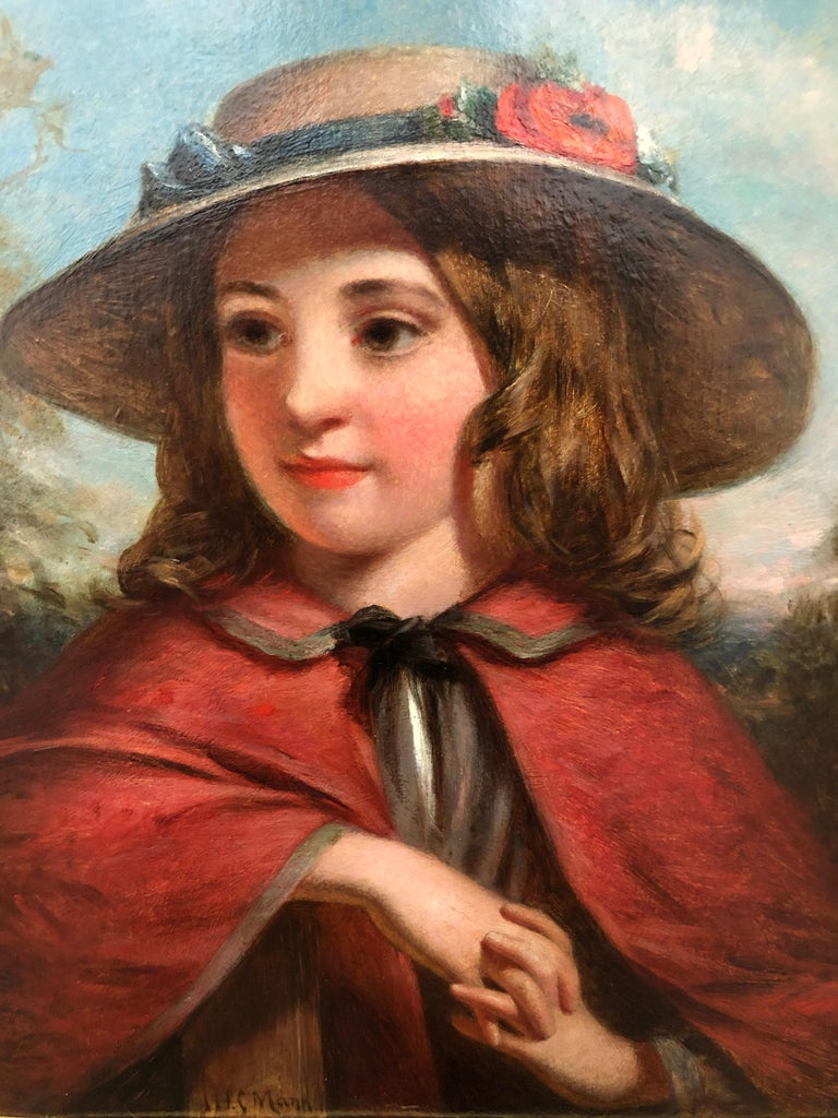 Little Red Riding Hood - Literary Portrait Oil Painting by J.H.S.Mann For Sale 2
