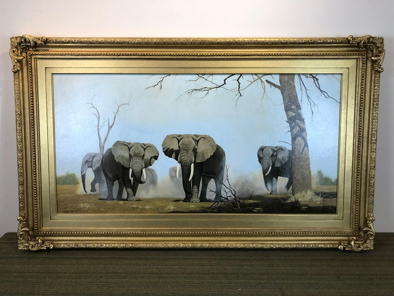 An Imposing Herd - Oil Painting On Canvas, Safari Landscape by Anthony Gibbs For Sale 1